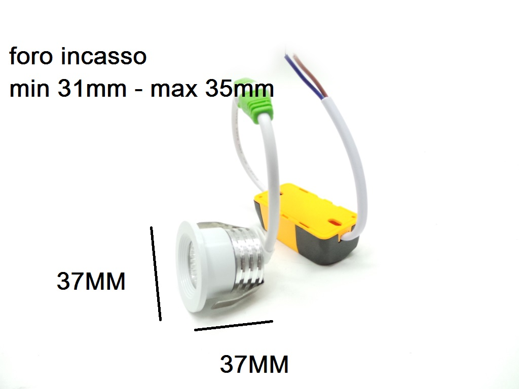 Mini Faretto Led Incasso 3w.F8 Mini 3w Mini Faretto Led Da Incasso 3w 37mm Cob Incluso